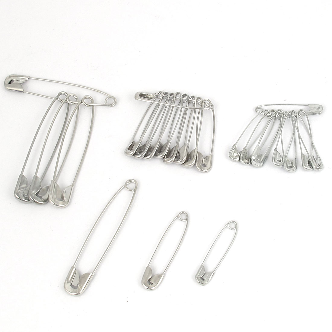 25pcs Silver Tone Metal Safety Pins Clothing Trimming Fastener Sewing Craft Tool