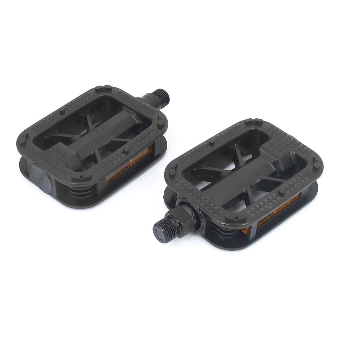 Mountain Road Bike Cycling Bicycle Plastic Nonslip Foot Platform Pedals Black Yellow Pair