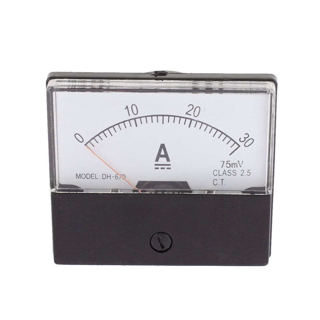 DH-670 DC 0-30A Class 2.5 Accuracy Rectangle Panel Mounting Analog Current Measure Gauge Ammeter Ampere Meter