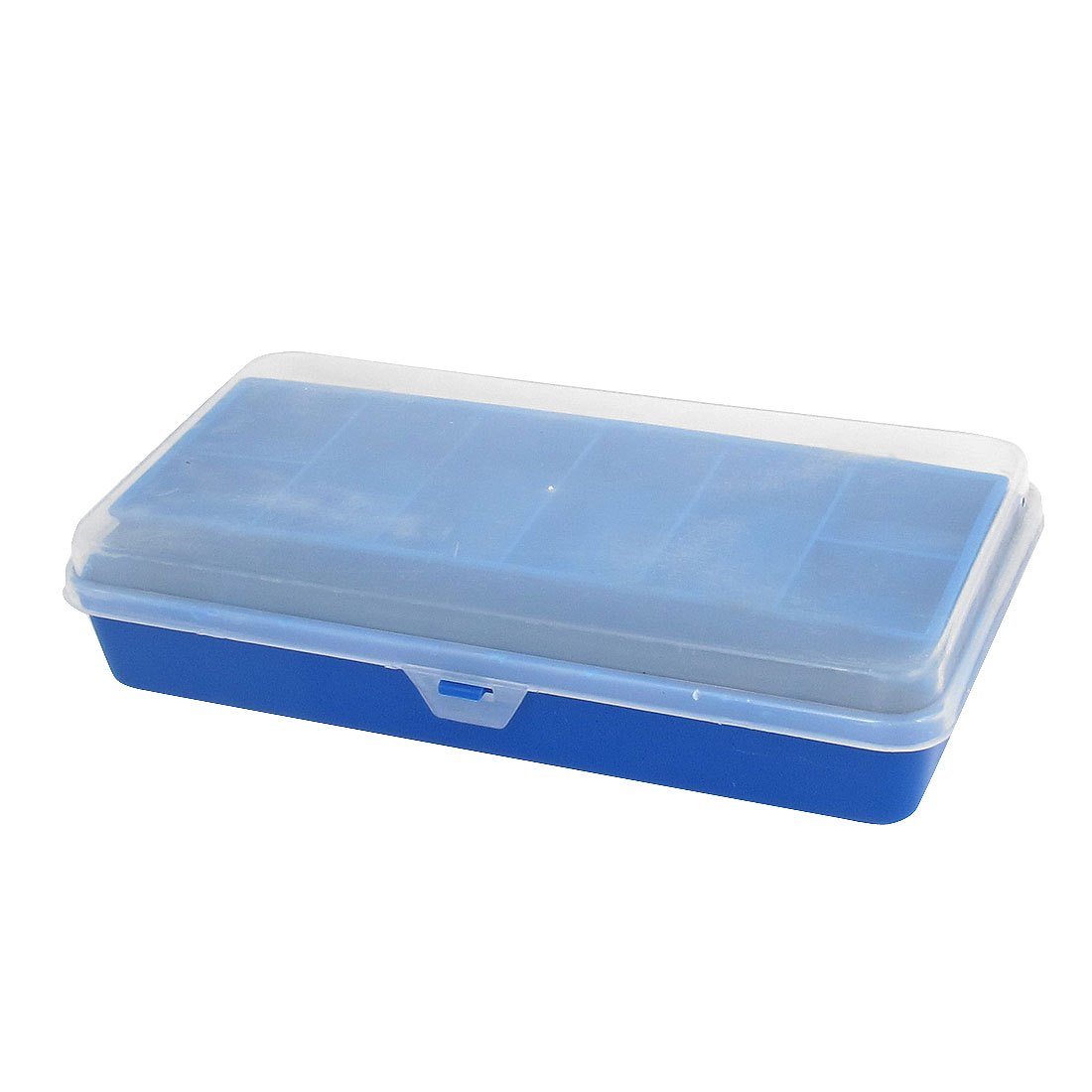 Clear Cover Blue Plastic Double Layers Angling Fishing Hook Lure Bait Tackle Box Storage Case Holder