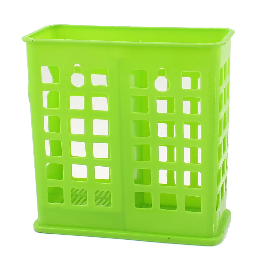 Kitchen Chopsticks Spoon 2 Compartment Plastic Hollow Out Basket Case Cage Holder Green