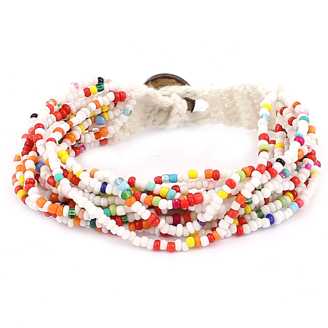 Lady Plastic Bead Multilayer Knitting Detail Wristband Bracelet Bangle Colorful