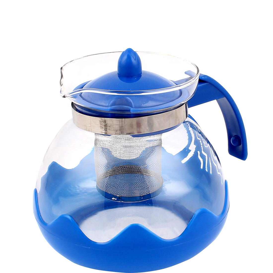 Home Kitchen Strainer Filter Coffee Herbal Tea Pot Kettle 1500mL Blue Clear