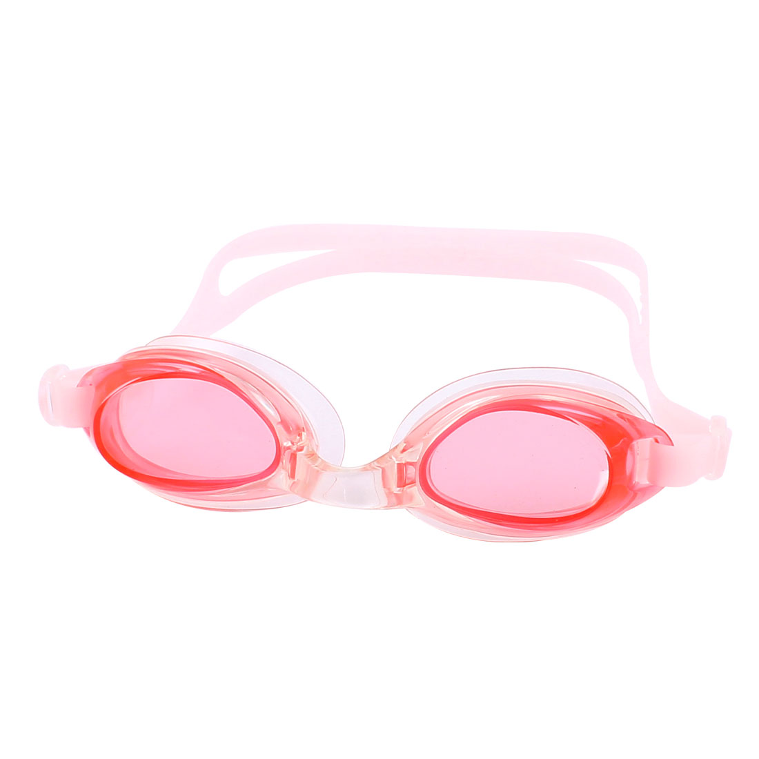 Adults Stretchy Adjustable Strap Swimming Eyeglasses Goggles Pink Red