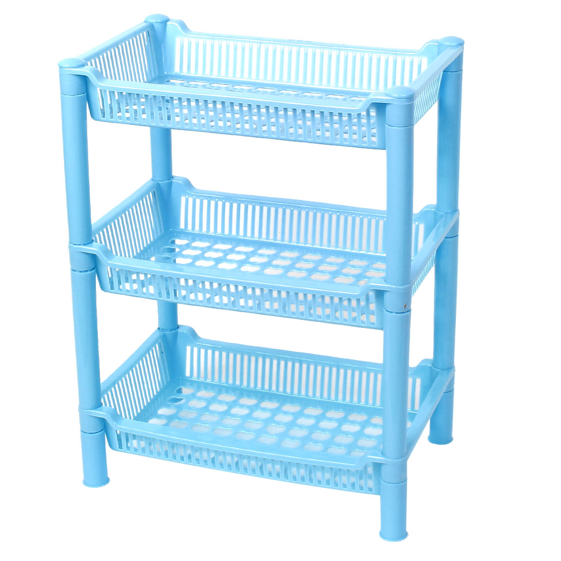 Home Bathroom Kitchen Blue Plastic 3 Layers Hollow Out Bottom Shelf Corner Storage Rack Holder Organizer