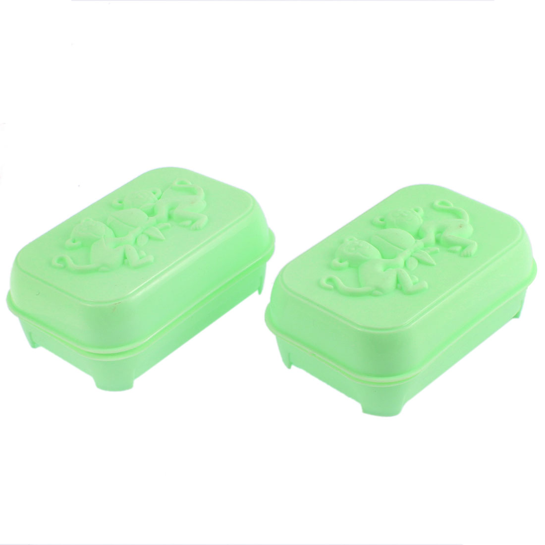 2Pcs Cyan Plastic Monkeys Pattern Hollow Out Bottom Soap Holder Container Box Case