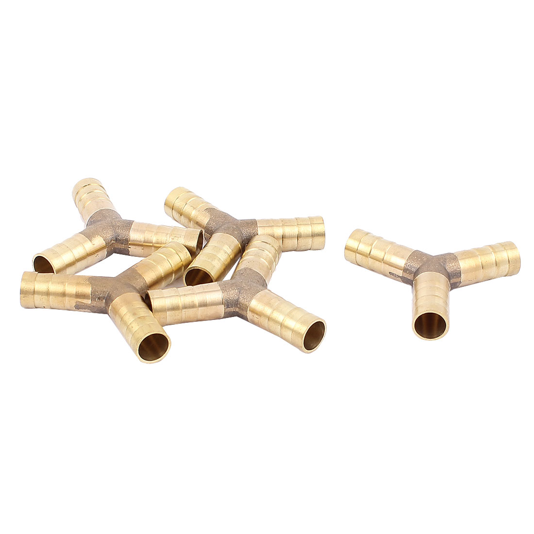 Brass Y Shape 3 Way 10mm Barb Gas Water Tube Hose Fitting Connector Joiner 5Pcs