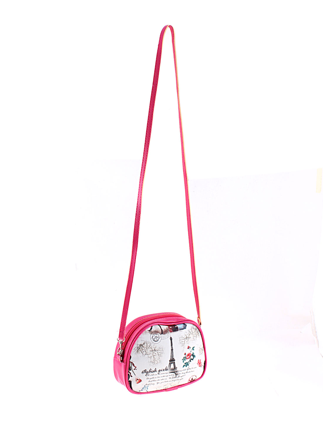 Ladies Girls Flowrs Eiffel Tower Printed Shoulder Bag Handbag Purse Fuchsia