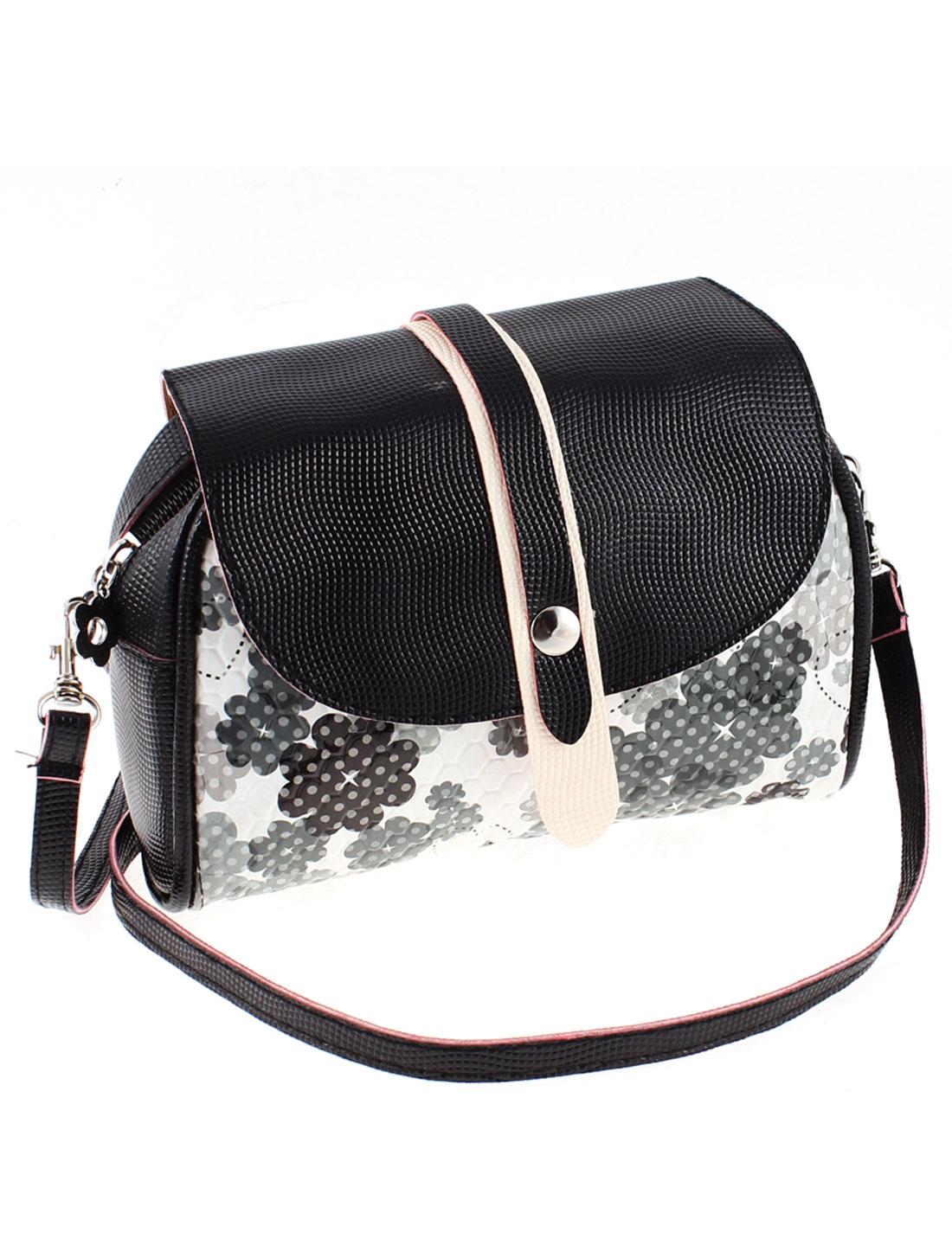 Ladies Girls Faux Leather Shoulder Bag Handbag Purse Black White w Strip
