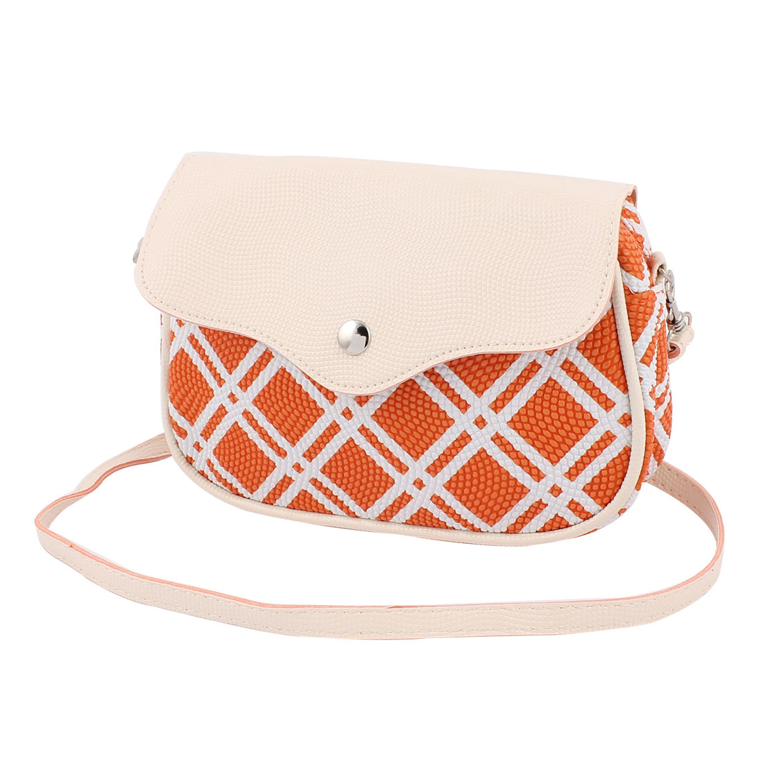 Women Ladies Faux Leather Bag Purse Cross Body Shoulder Handbag Orange Beige
