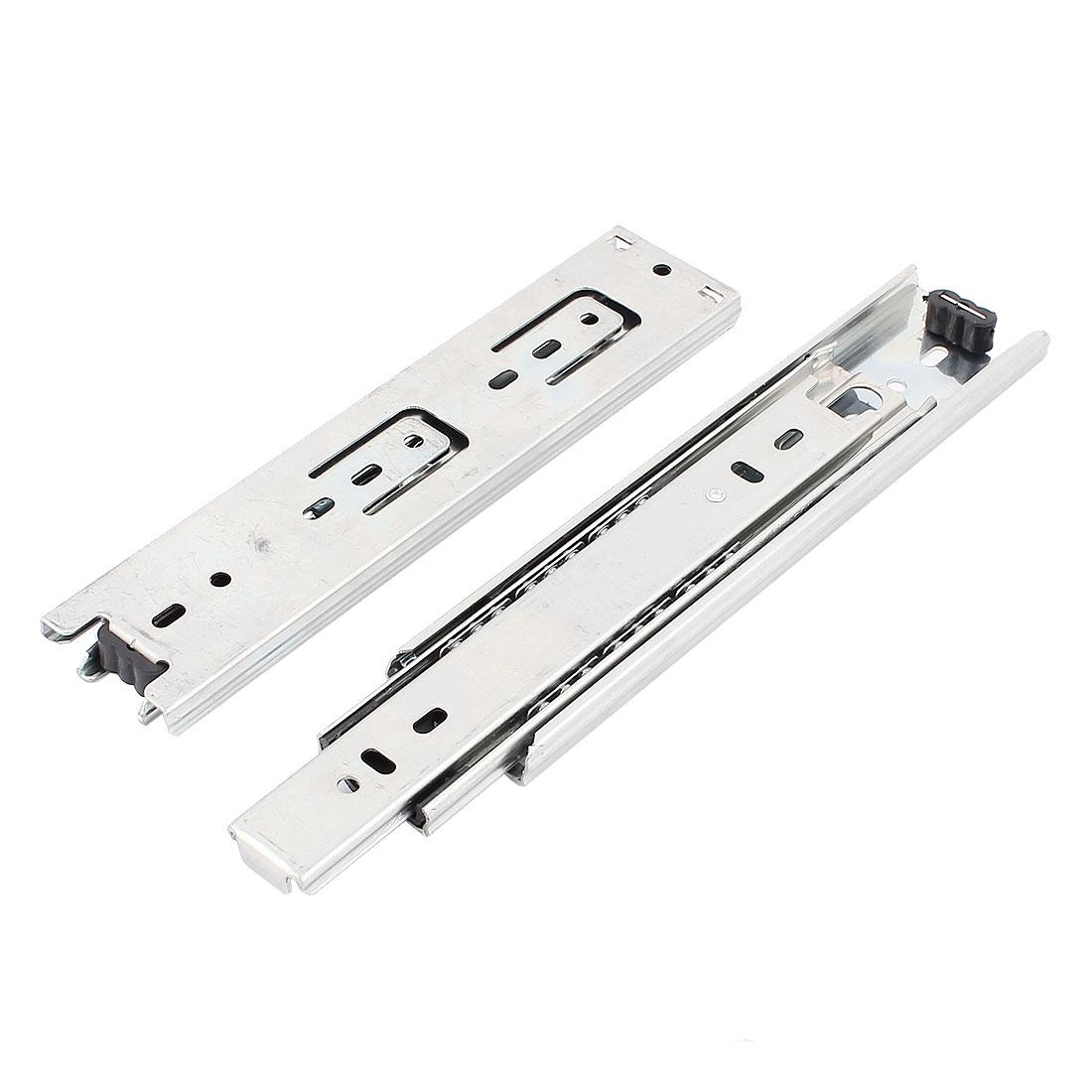 200mm Long Ball Bearing Drawer Slide Rail Track Silver Tone 2Pcs