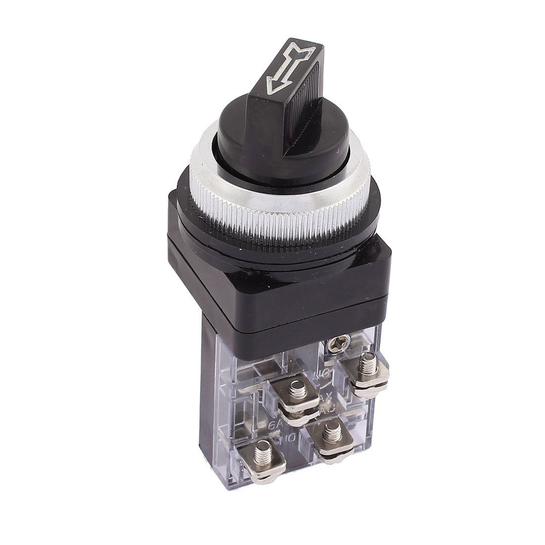 AC 250V 6A 2 Positions On/Off 4 Screw Terminals 29mm Thread Panel Mounted DPST Rotary Switch
