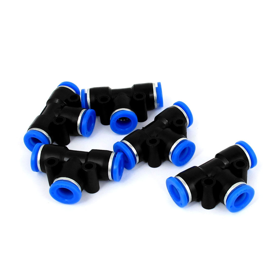 5pcs 3 Way T Shaped 8mm Inner Dia Pipe Adapter Air Pneumatic Quick Joint Coupler Fitting