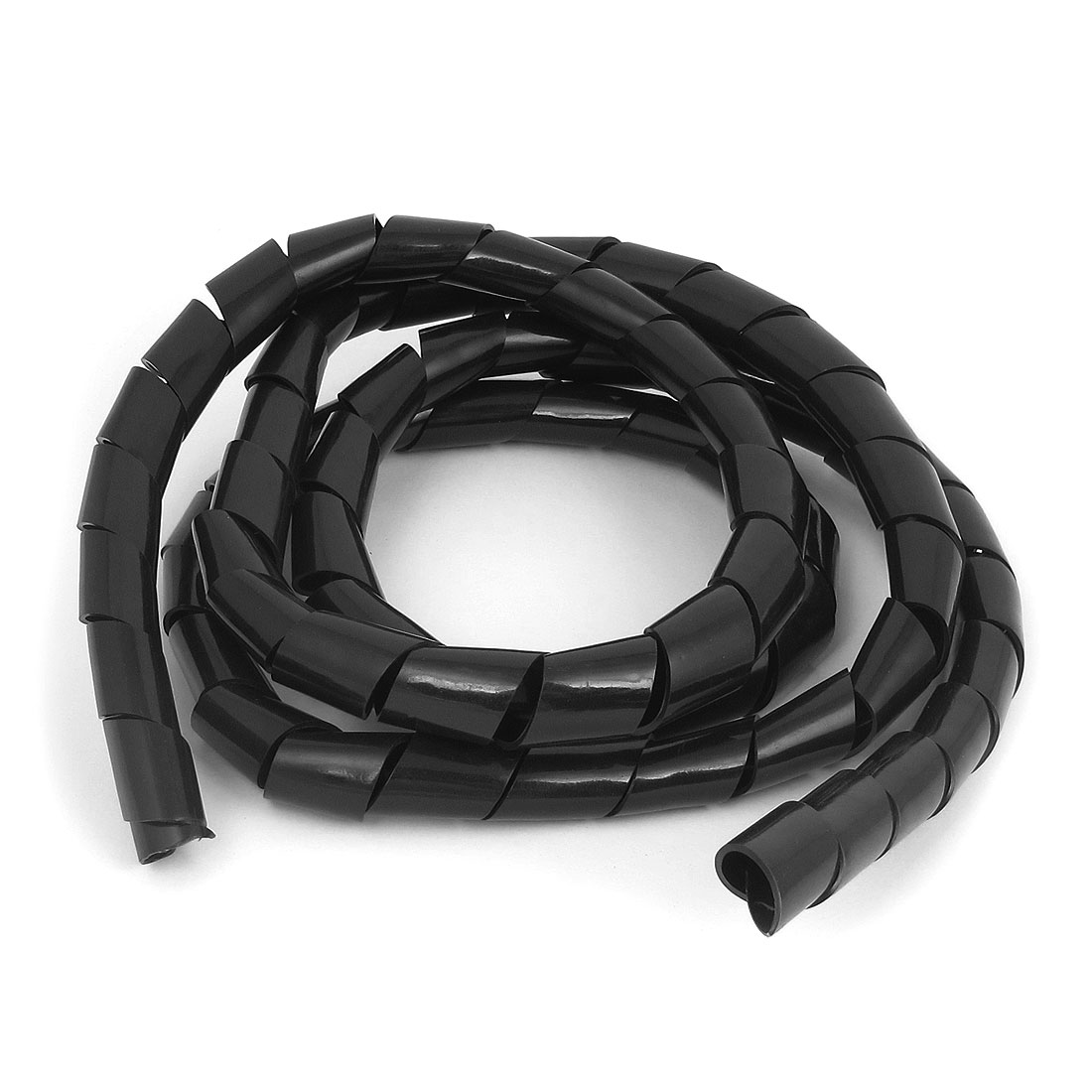 236cm Long 16mm Inner Dia Flexible Spiral Tube Wrapping Band Wrap Cable Wire Organizer Management Black
