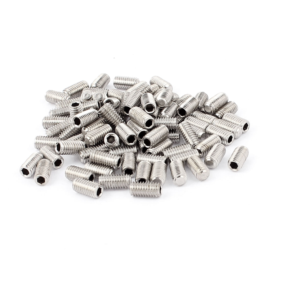 100pcs M5x10mm Hex Socket Flat Point Grub Screws Nut Washer