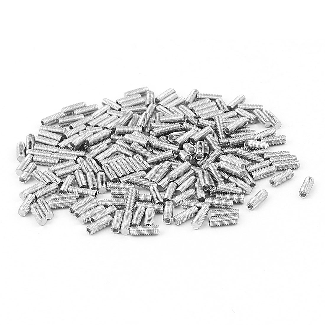 200pcs 304 Stainless Steel M3 Thread Flat Hex Socket Grub Screws