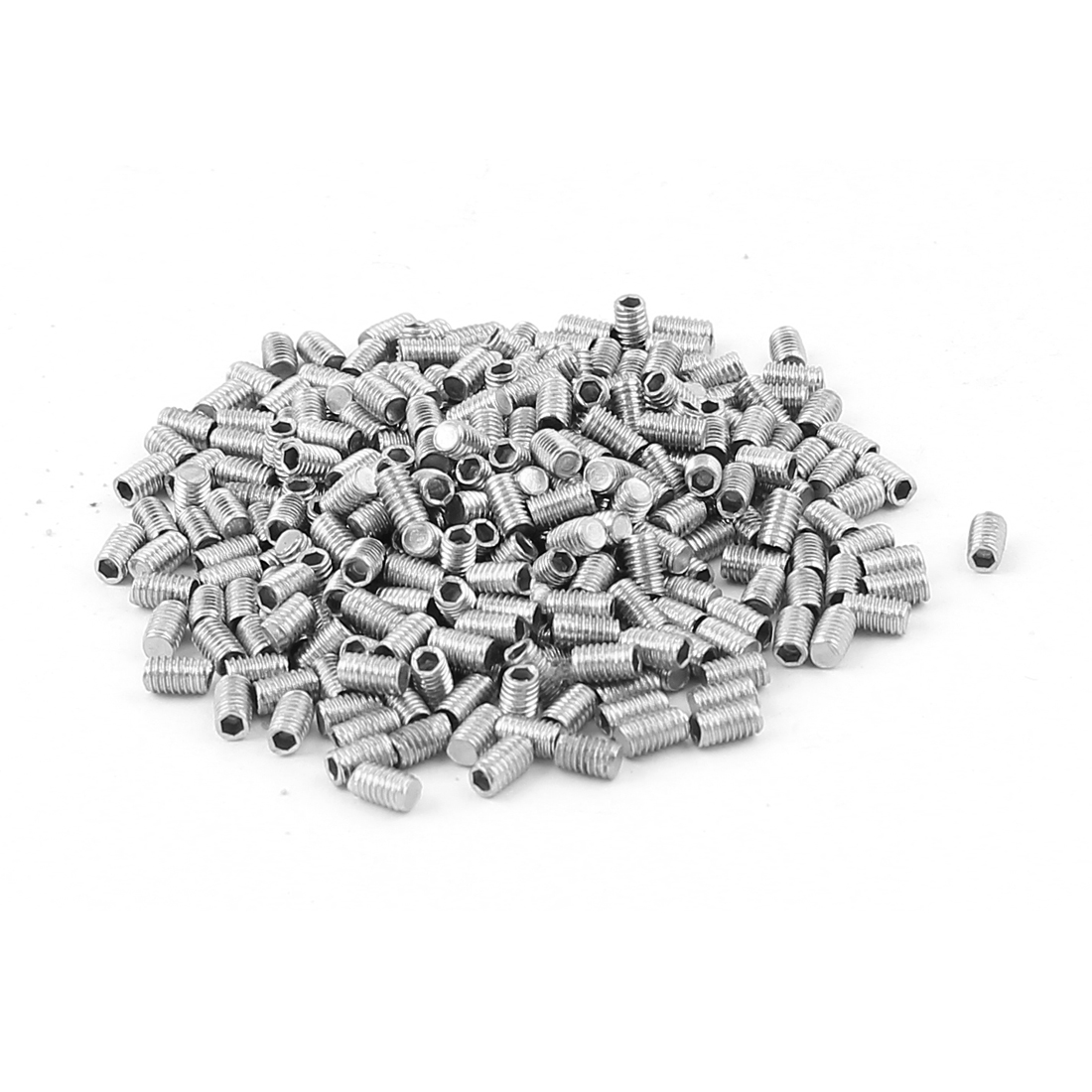 300pcs Stainless Steel M3 Thread Flat Point Grub Screws Fasteners