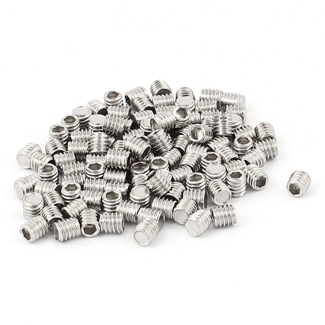 Stainless Steel Hex Socket Flat Point Set Grub Screw 100pcs