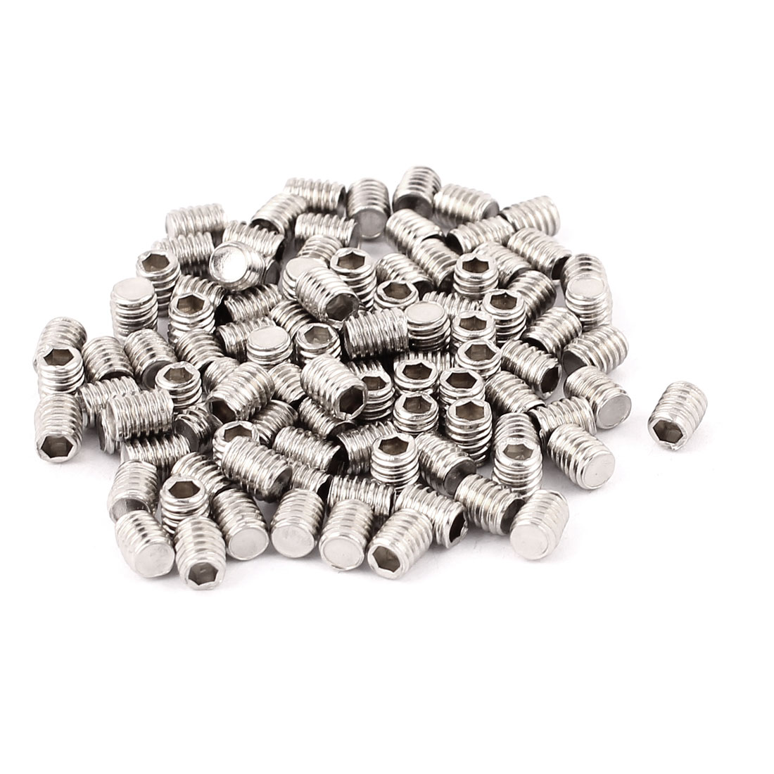 100pcs M4x5mm Flat Point Grub Screws Hex Socket Set Screw