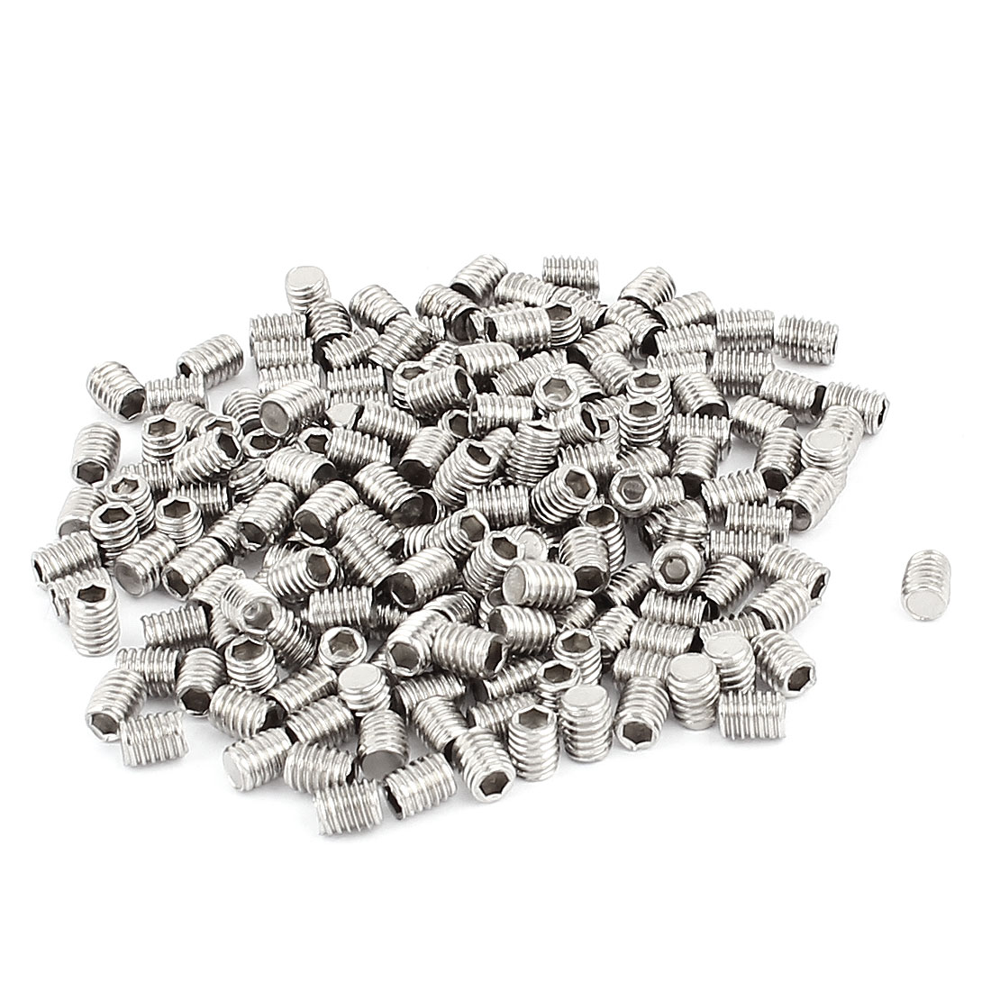 200pcs 304 Stainless Steel M4 Thread Hex Socket Flat Point Set Grub Screws