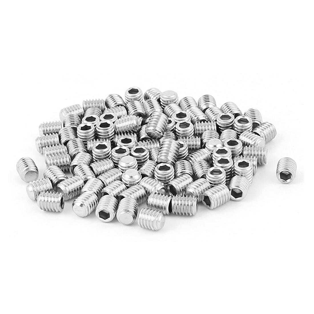 100pcs Stainless Steel M5x6mm Thread Hex Socket Flat Point Grub Screws
