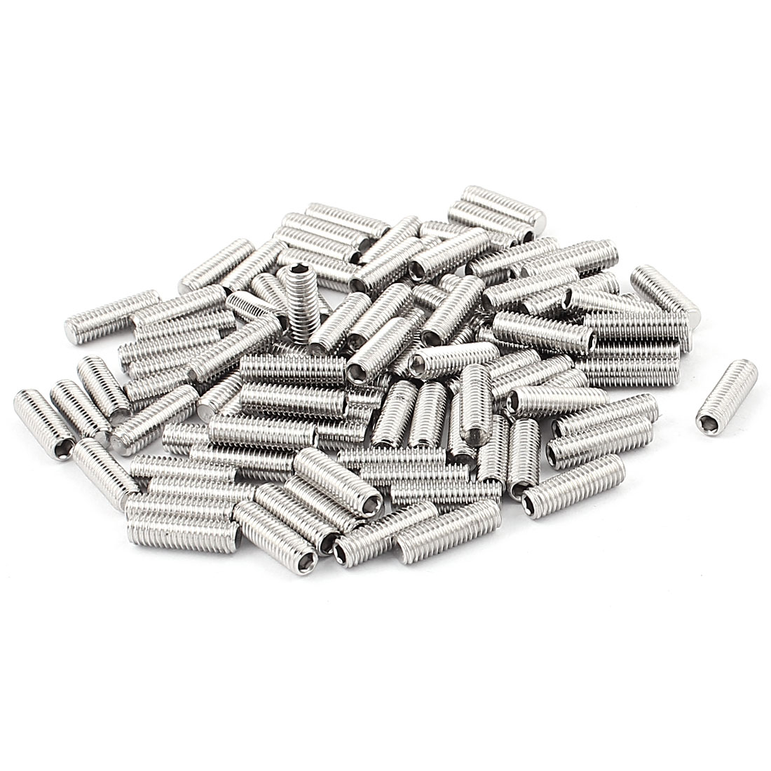 Stainless Steel M5x16mm Hex Socket Flat Point Grub Screws 100Pcs