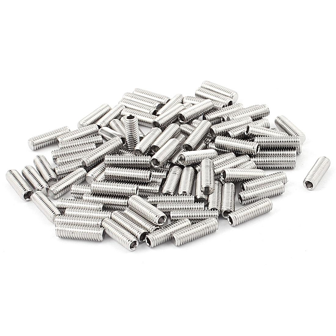 Stainless Steel M5x16mm Hex Socket Flat Point Grub Screws 100Pcs