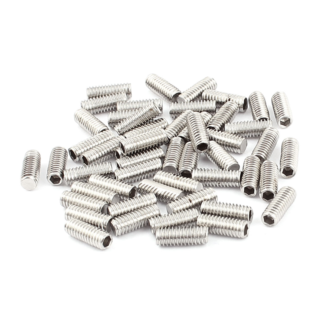 50pcs M4x10mm Threaded Head Hex Socket Flat Point Set Grub Screws