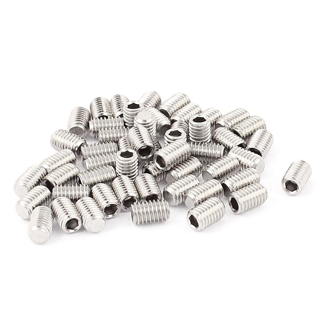 50pcs 304 Stainless Steel M5x8mm Threaded Hex Socket Set Grub Screws