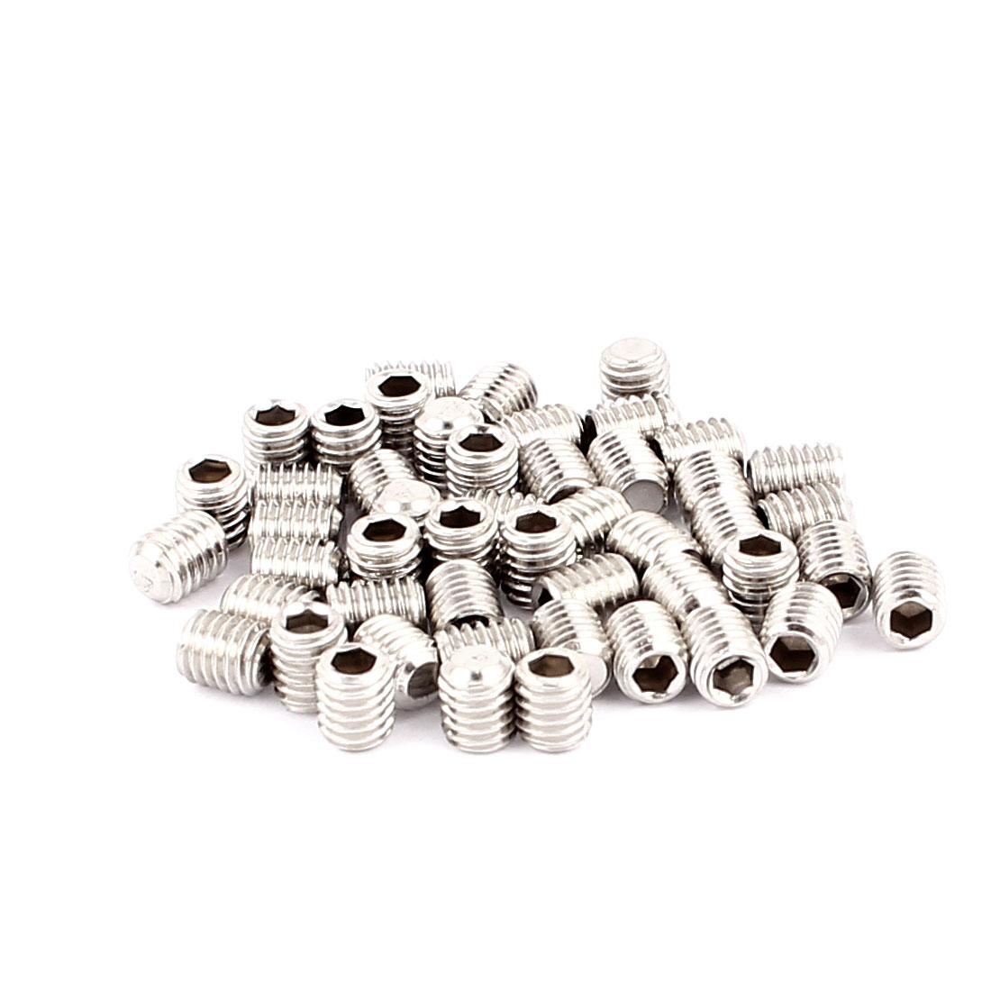 50pcs M5x6mm 304 Stainless Steel Hex Socket Flat Point Set Grub Screws