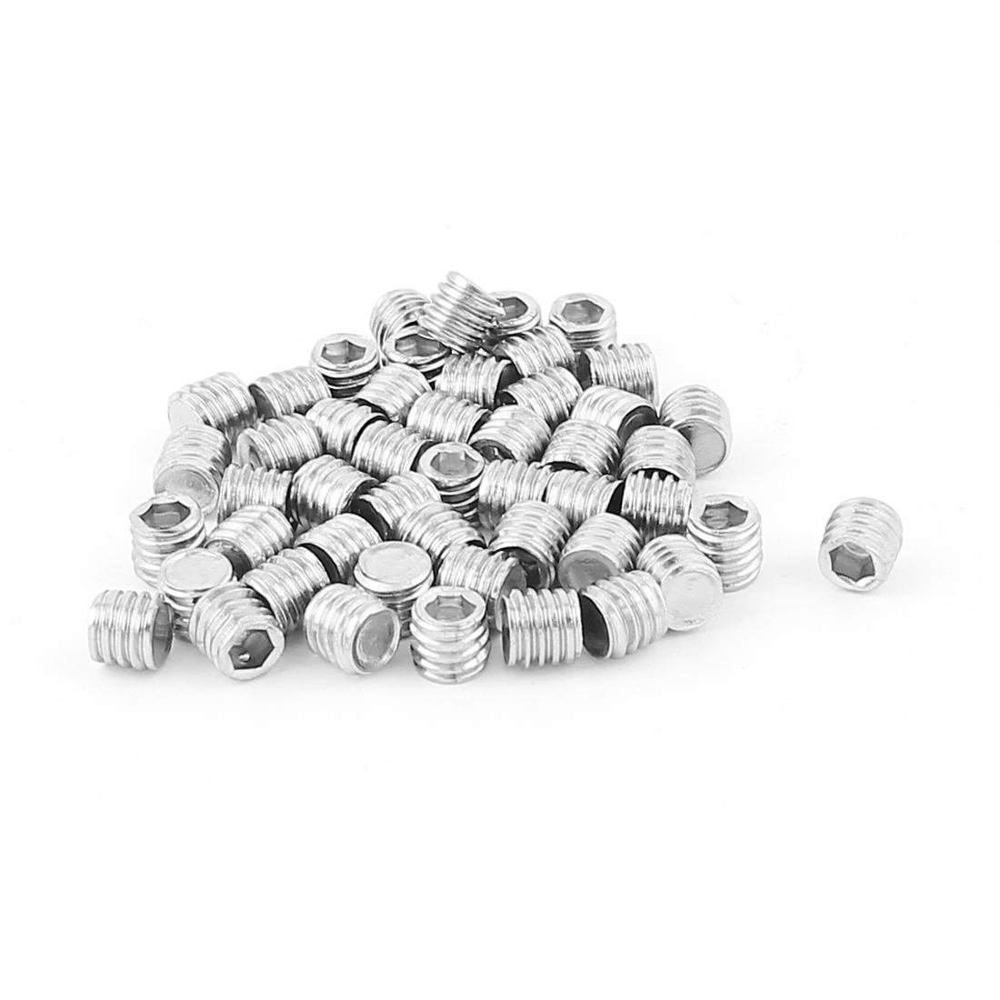 Stainless Steel M6x5mm Hex Socket Set Grub Screws Nuts Fitting 50pcs