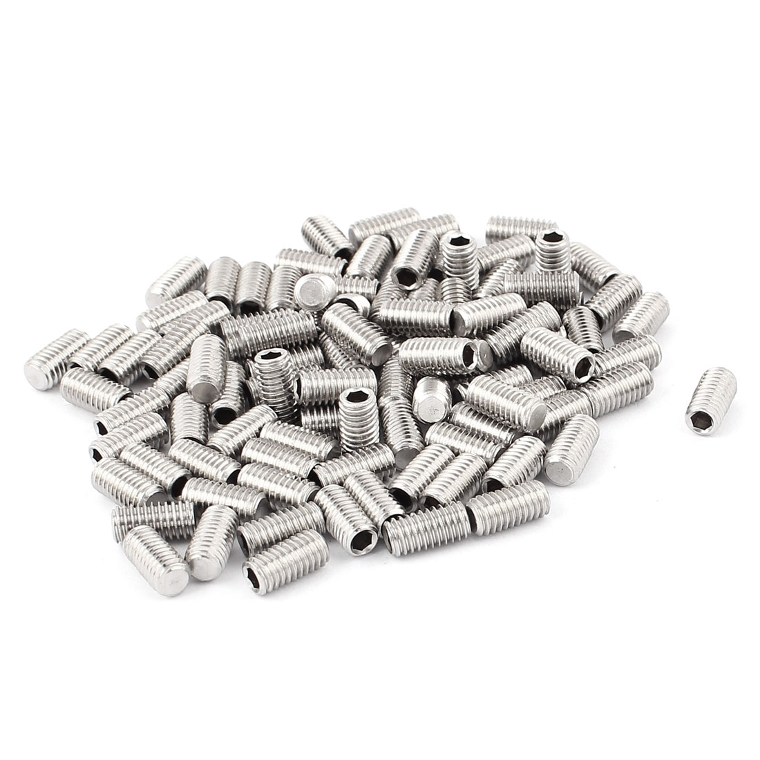 100pcs Stainless Steel M6 Flat Point Grub Screws Hex Socket Set Screw