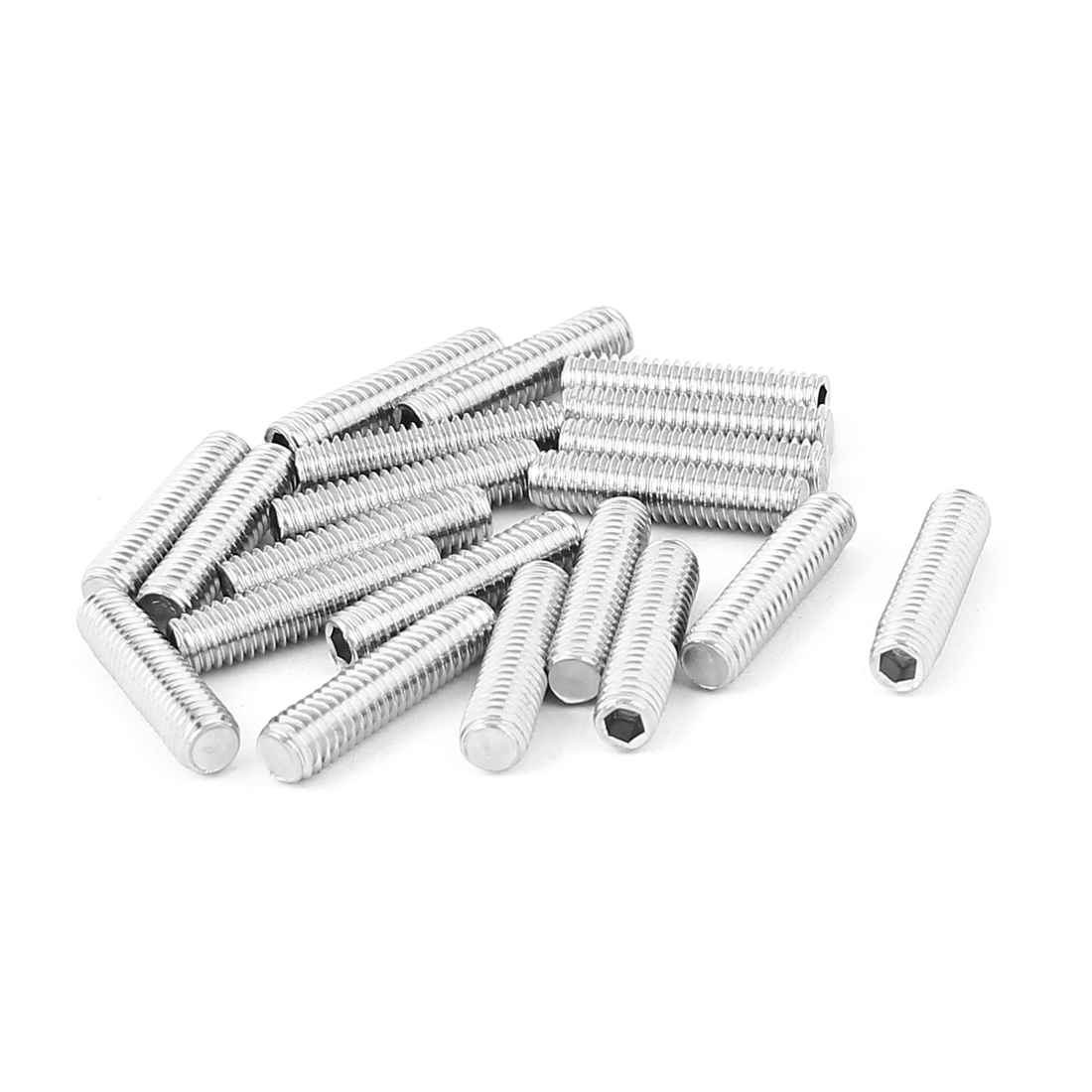 Bolt Base Stainless Steel M6 Flat Point Hex Socket Grub Screws 20pcs