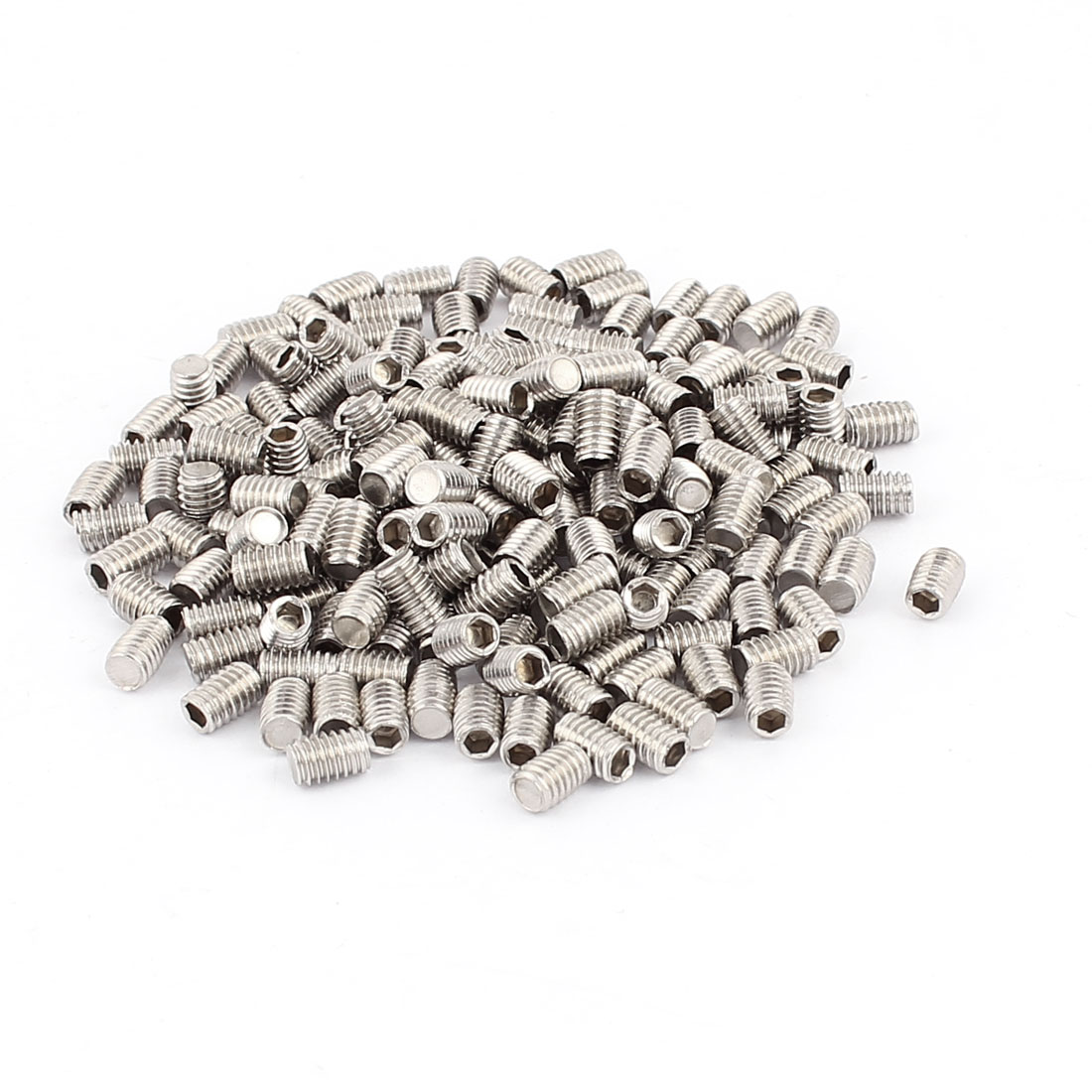 200pcs M4x6mm Hex Socket Set Flat Point Grub Screws Washers