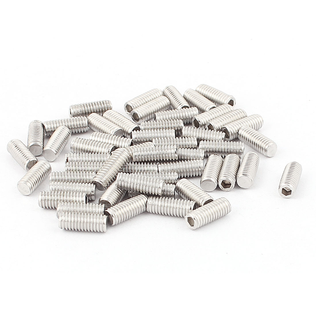 50pcs 304 Stainless Steel M5 Thread Hex Socket Flat Point Set Grub Screws