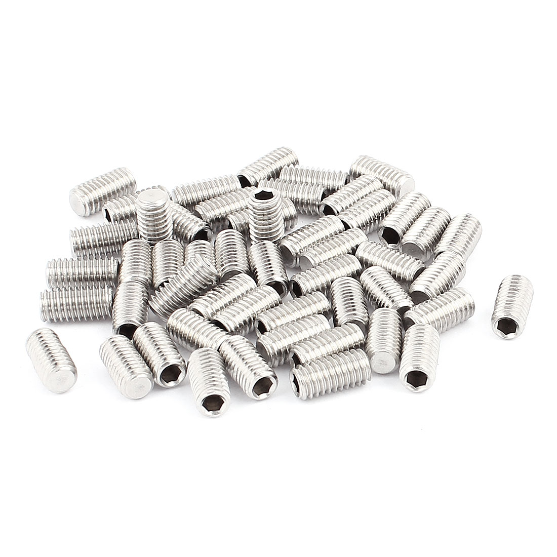 50pcs M6 Thread Flat Point Hex Socket Grub Screw Set Screws