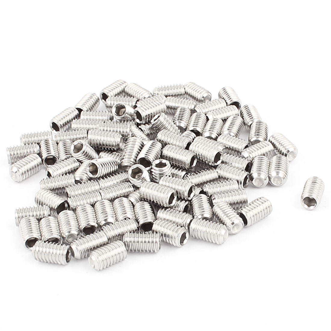 100pcs 304 Stainless Steel M6x10mm Hex Socket Flat End Set Grub Screws