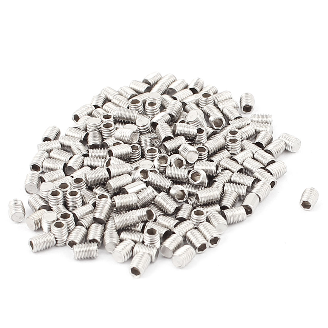 200pcs Stainless Steel Flat Point Hex Socket Grub Screws M3x4mm