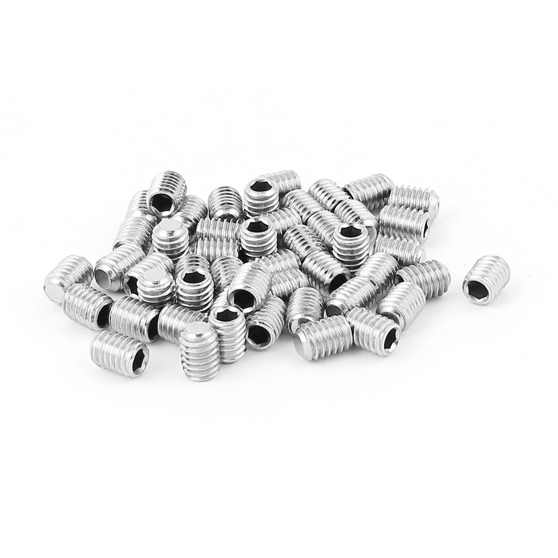 50pcs Stainless Steel M6 Thread Hexagonal Socket Set Screws Nuts Silver Tone