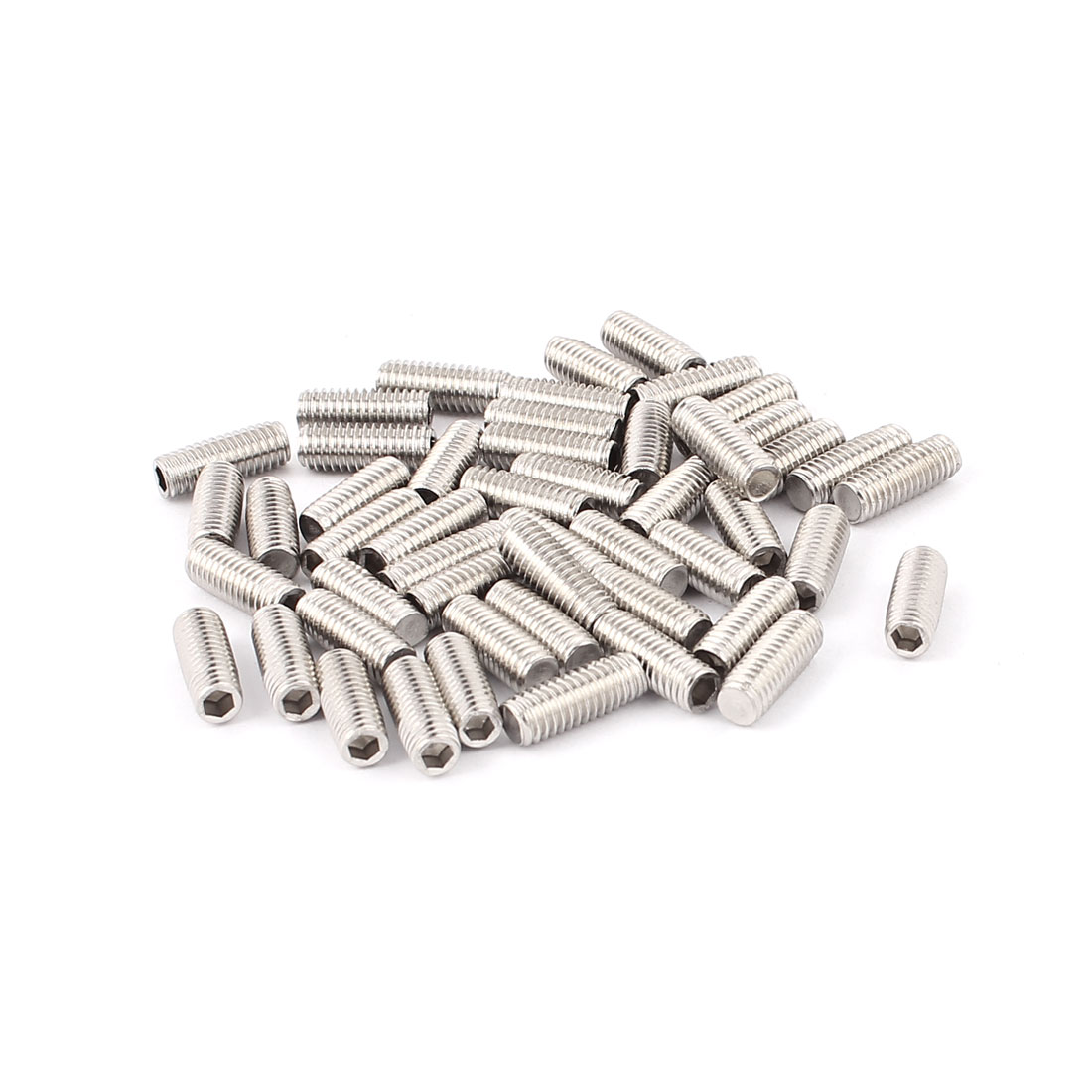 50pcs 304 Stainless Steel M6 Flat Point Hex Socket Grub Set Screws