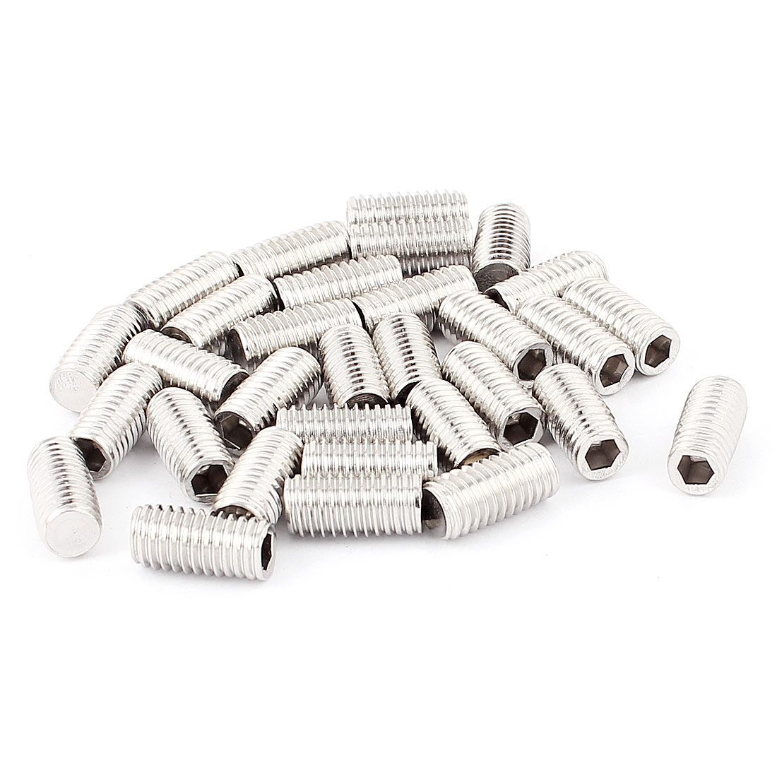 30pcs M8 x 16mm Threaded Hex Drive Socket Set Screws Silver Tone