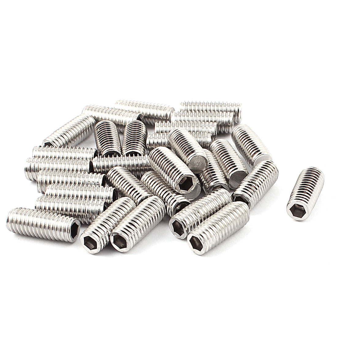 Bolt Base Stainless Steel M8x20mm Hex Socket Grub Screws 30pcs