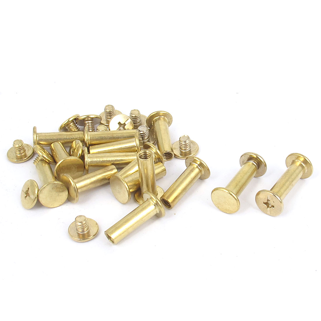 15pcs 5mmx15mm Brass Plated Binding Screw Post for Document Album Menu