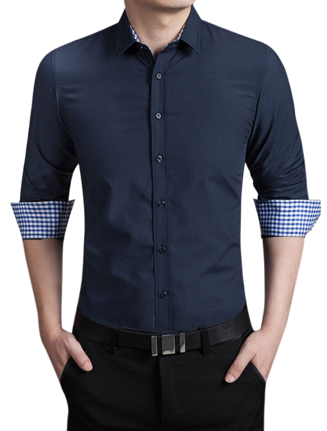 Men Point Collar Slim Fit Button Closed Shirt Navy Blue M