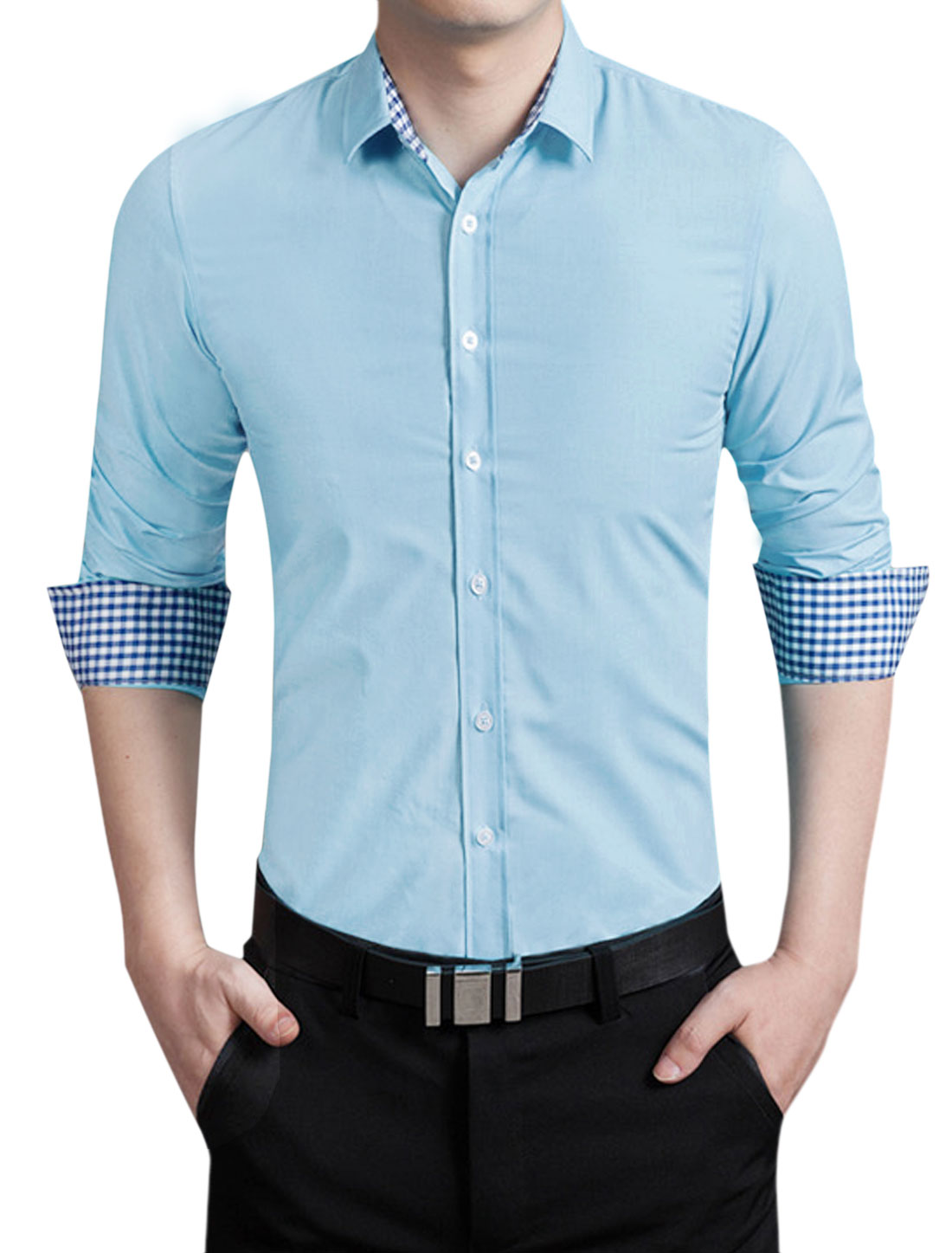 Men Long Sleeves Round Edge Form Fitting Shirt Sky Blue M