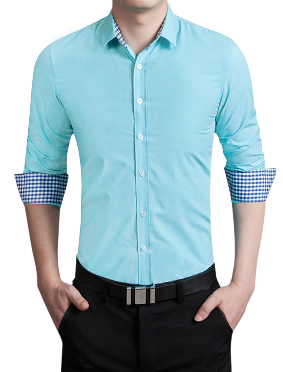 Men Long Sleeves Round Hem Button Closure Shirt Light Blue M