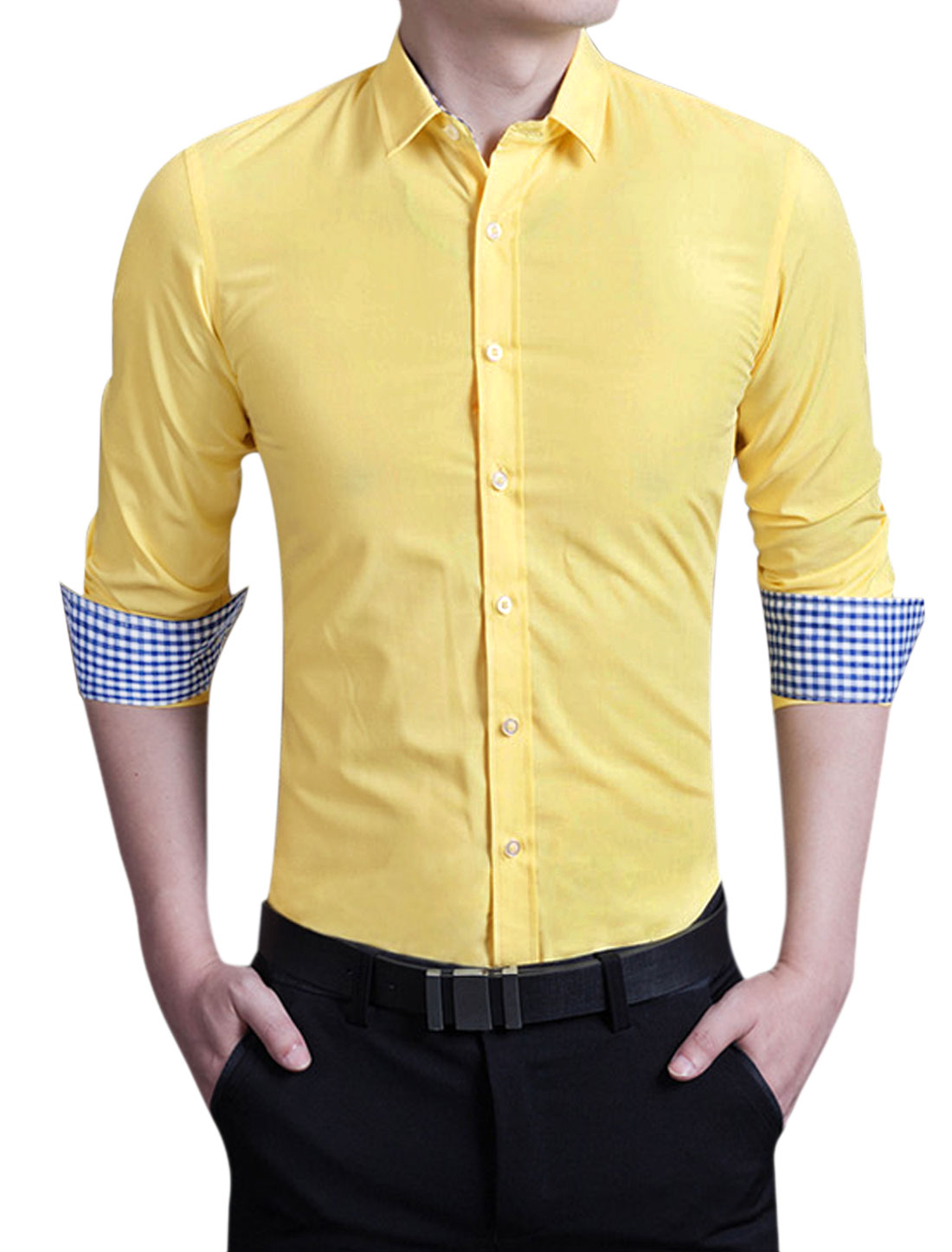 Men Point Collar Round Edge Slim Fit Business Shirt Yellow M