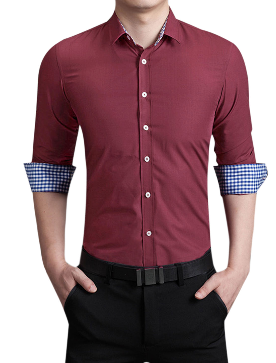 Men Long Sleeves Point Collar Slim Fit Dress Shirt Red M