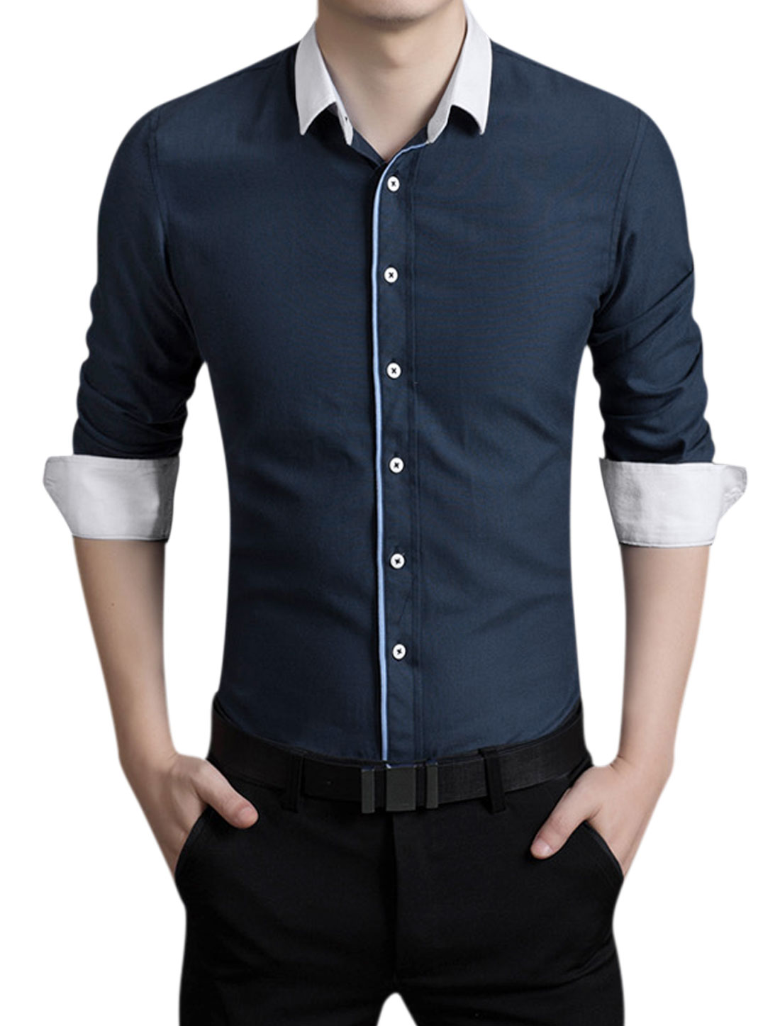 Men Pinpoint Long Sleeves Button Closed Slim Fit Shirt Navy Blue M
