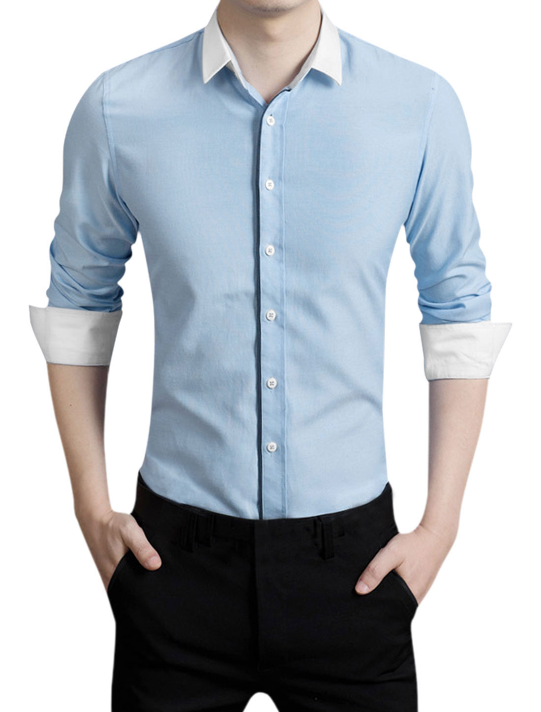 Men Slim Fit Long Sleeves End on End Point Collar Shirt Baby Blue M